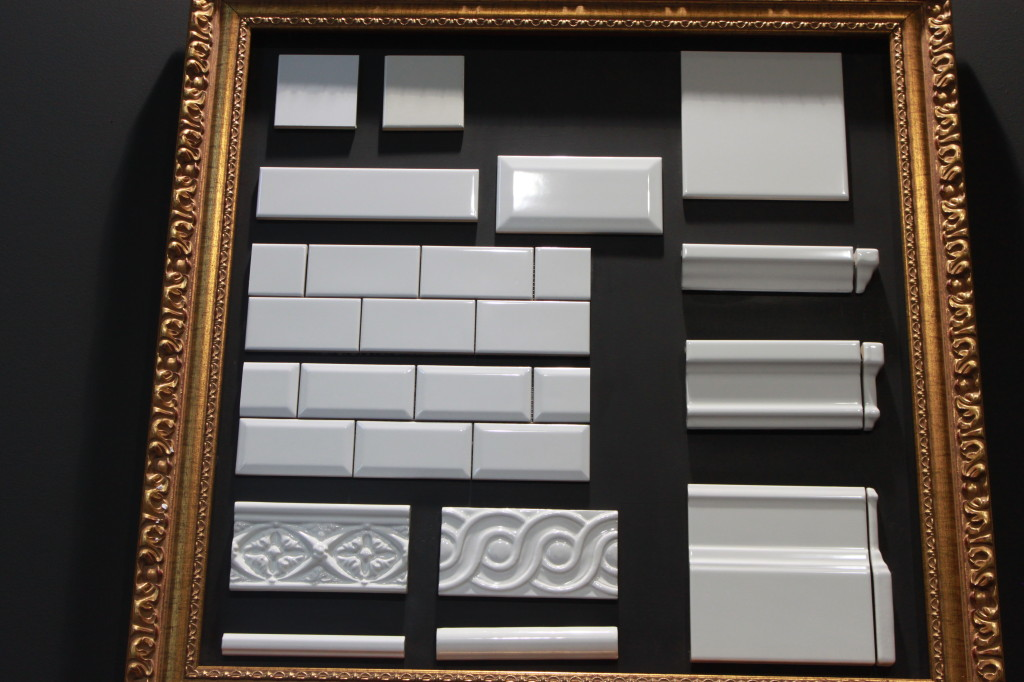 A collection of trim pieces and the classic bevel subway tile from Adex.