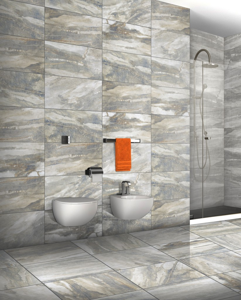 Tile trends fossilized looks for New bathroom tile trends