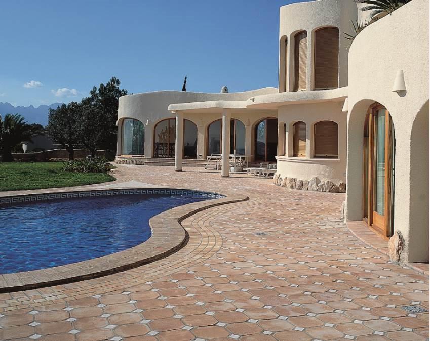 "Cerámica Decorativa. Ibiza Series. Natural Terracota hand made pieces. Octagonals in 12X12"""
