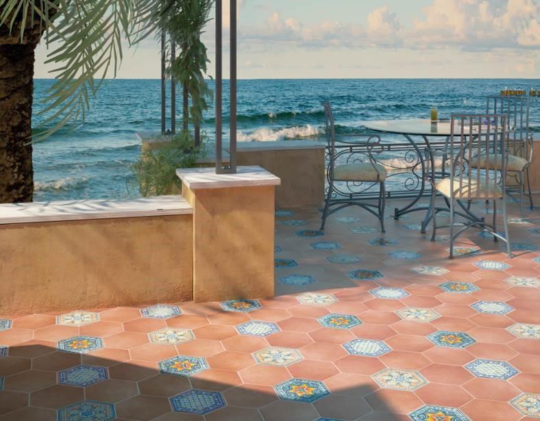 "Equipe Cerámicas - Hexatile Series. Ceramic floor tiles combined with Cotto Caldera (7x 8"") and Decorados Basílica 1, 2 & 3 (7x 8"")"