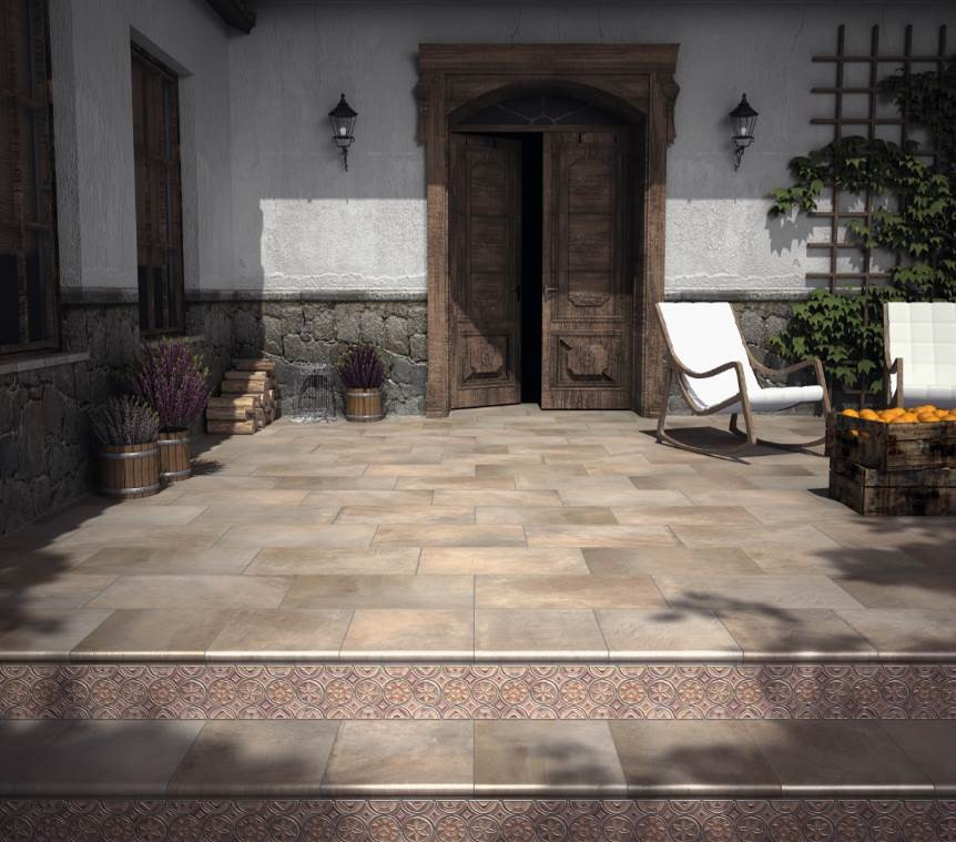 "Natucer - Fusion Iron Series. Extruded porcelain floor tiles (14x 24"") and decorative pieces: Tabica EST. CRA. FOSSANO ( 6x13"") Fusión in the back of the steps."