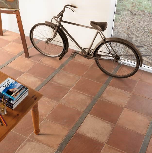 """Grespania - Abadía Series. Rustic look ceramic tile. Two-piece design: Abadía Rojo ( 12X12"""") and Rectoría - complementary piece (wood-inspired in 2X12"""")"""