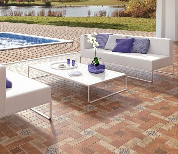 """Azulev - Alfama Series Ceramic floor tile Alfama Cotto ( 18X18"""")"""