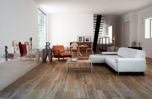 "Gayafores - Rovere Series. Ceramic floor tile in ""distressed wood planks"" (8X26"") In honeyed hues."