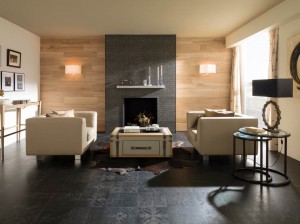 "Porcelanosa - Antique Series. Porcelain floor tile (23X23"")  in black."