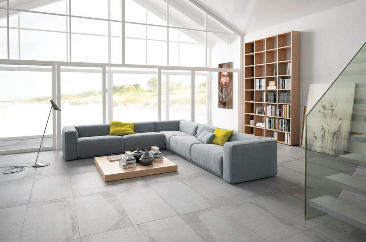 Aparici.  Series: Build Grey Lapatto. Porcelain floor tile in 44.64 X 89.46 cm. (17.5 X 35 inches)