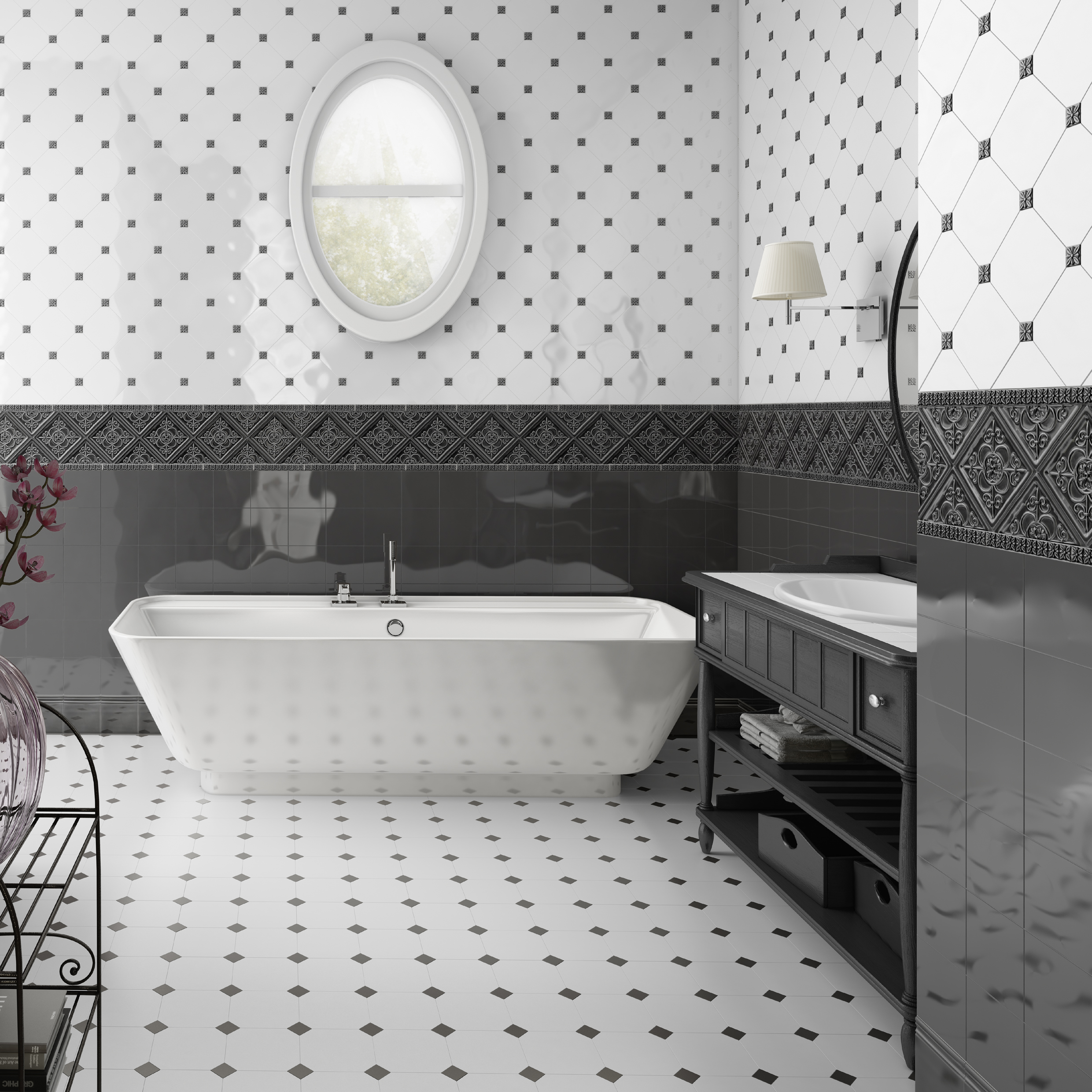 "Adex - Studio Series.  Floor and wall tiles in white octagonal shape (6X6"")"