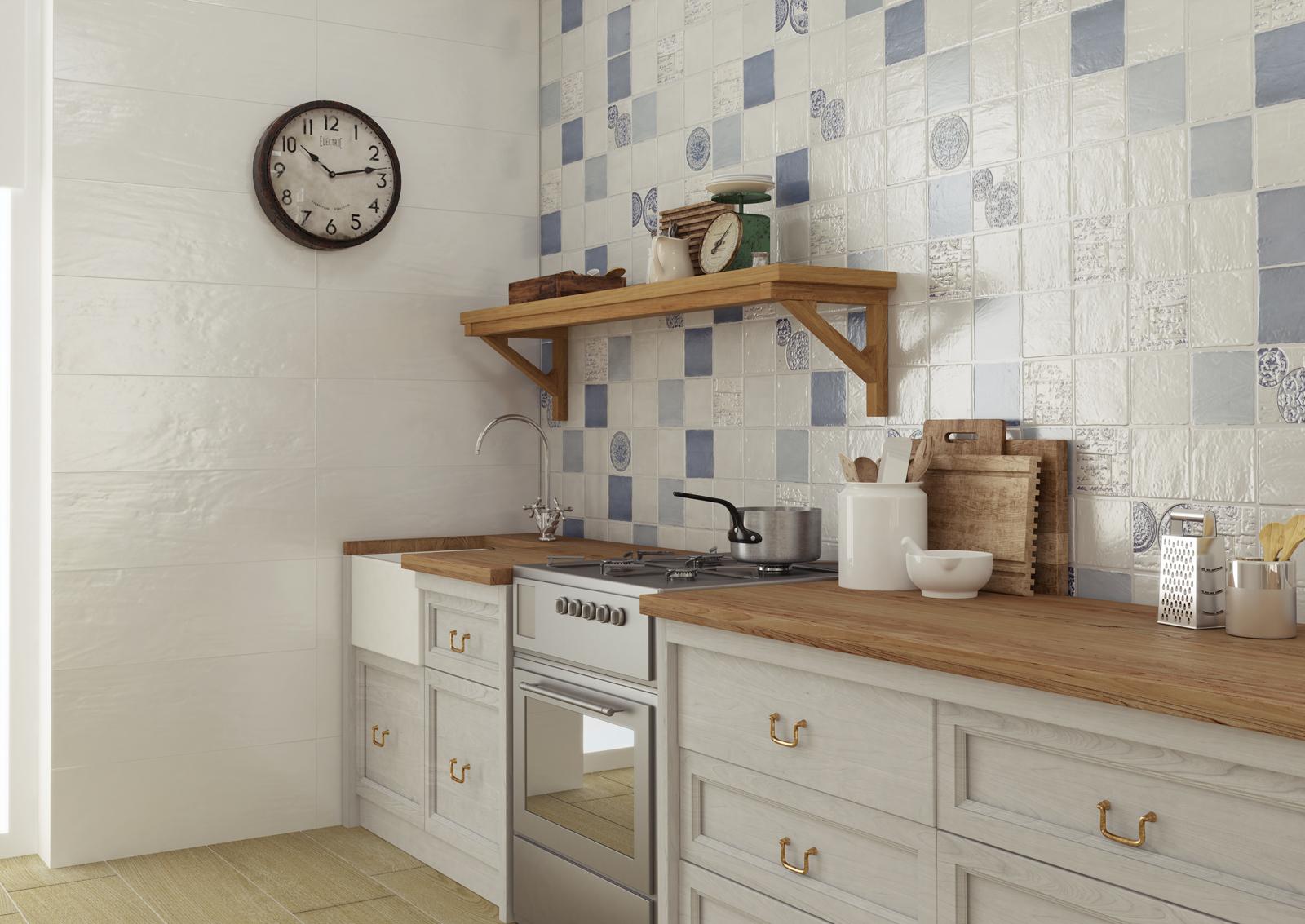 "Keraben Grupo.  College.  Vintage Series.  Wall tiles in Vintage Ocean, Vintage Sky and Vintage History (5X5"")"