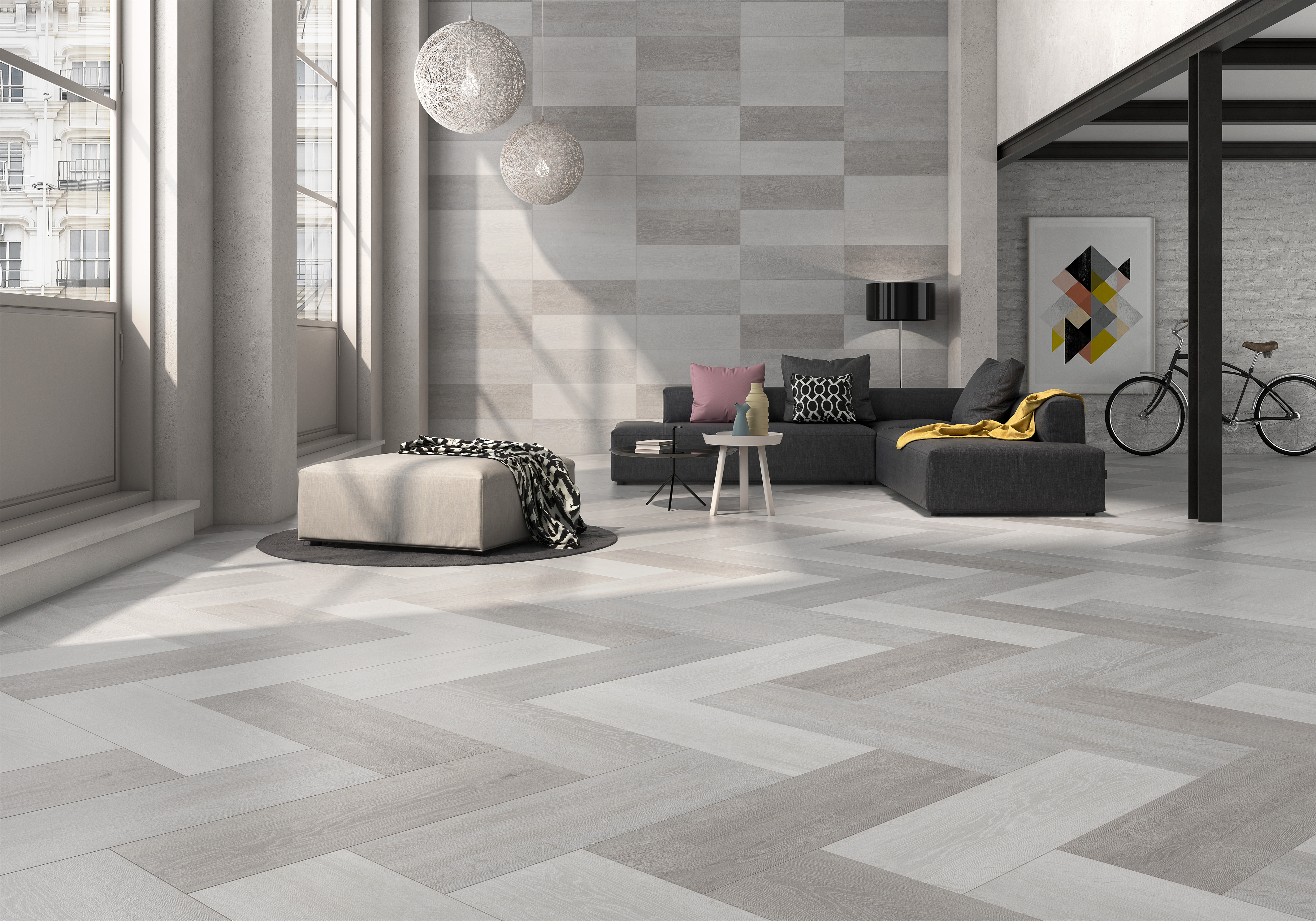 "La Platera.  Blendstone Series. Porcelain floor and wall tiles.  Combination Blendstone White, Blendstone Grey and Blendstone Sand (12X24"")"