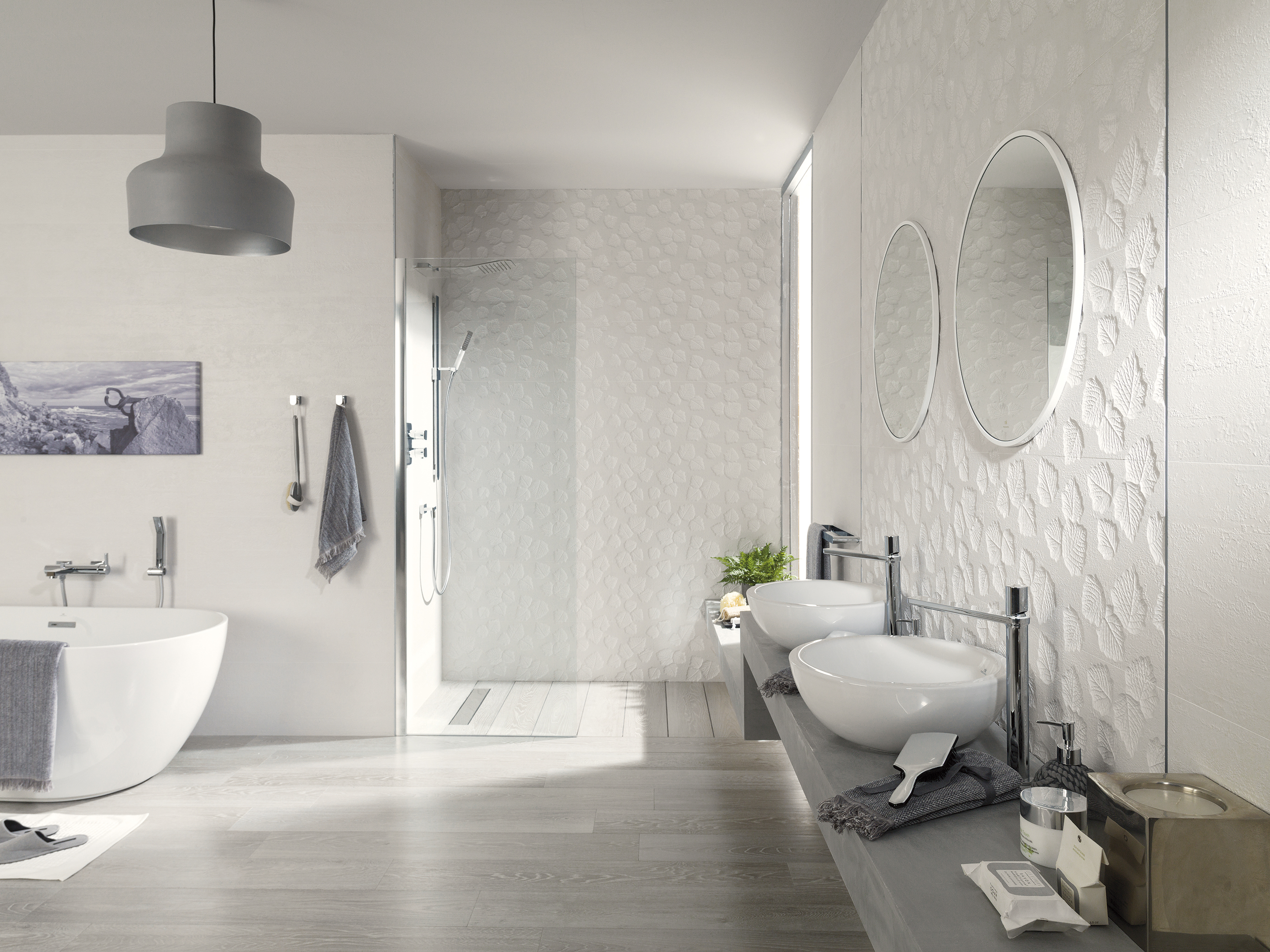 "Porcelanosa.  Manila Series.  Wall tile in white with decorative pieces with leaves reliefs. (12.5X35.5"")"